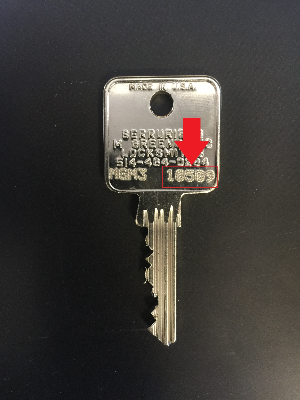 Find ID stamped on the Back of Your Key